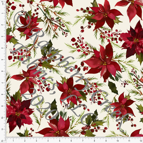 Cream Red Burgundy and Green Pine Poinsettia Floral Print Double Brushed Poly Knit Fabric, CLUB Fabrics - Raspberry Creek Fabrics