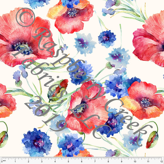 Cream Red Blue Green and Yellow Poppy Floral Rayon Challis, CLUB Fabrics, 1 Yard - Raspberry Creek Fabrics