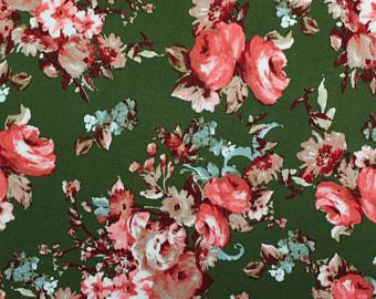 Olive Green Red and Burgundy Floral Double Brushed Poly Spandex Knit, 1 yard
