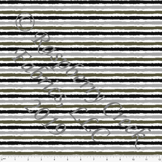 Black Grey and Olive Green Watercolor Stripes, Club Fabrics - Raspberry Creek Fabrics