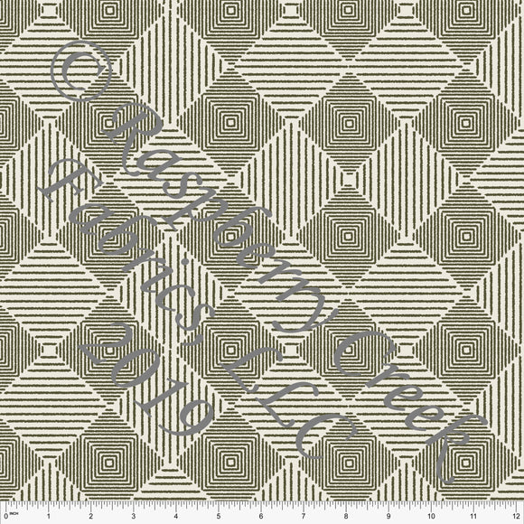 Olive and Beige Geometric Lined Diamond Rayon Challis, CLUB Fabrics - Raspberry Creek Fabrics