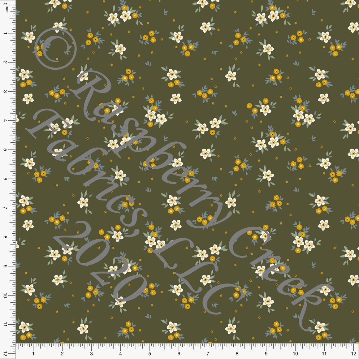 Olive Mustard Dusty Blue and Cream Petite Floral Print Double Brushed Poly Knit Fabric, CLUB Fabrics - Raspberry Creek Fabrics