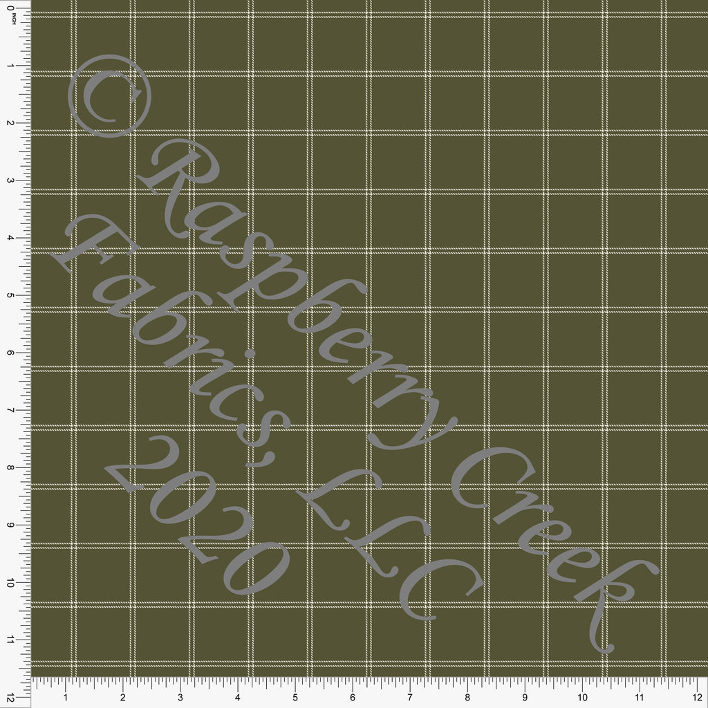 Olive and Off White Windowpane Plaid Print Double Brushed Poly Knit Fabric, CLUB Fabrics - Raspberry Creek Fabrics