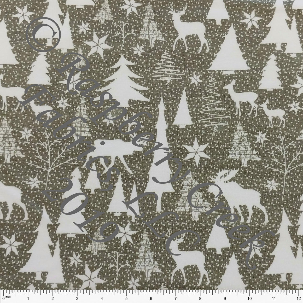 Olive and White Winter Wonderland French Terry Fleece Sweatshirt Knit Fabric, Elise Peterson for CLUB Fabrics - Raspberry Creek Fabrics