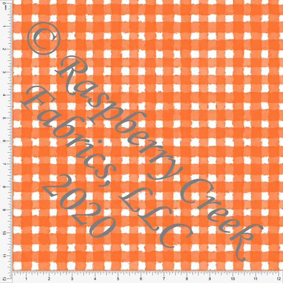 Orange and White Painted Check Gingham, Spooky Cute By Bri Powell for Club Fabrics - Raspberry Creek Fabrics