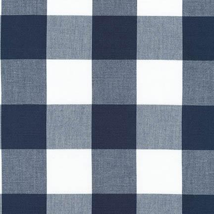 Navy and White 2 Inch Plaid Checked Gingham, Robert Kaufman Carolina Gingham - Raspberry Creek Fabrics