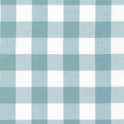 Dusty Aqua Blue and White Plaid Checked Gingham, Robert Kaufman Carolina Gingham, 1 Yard - Raspberry Creek Fabrics