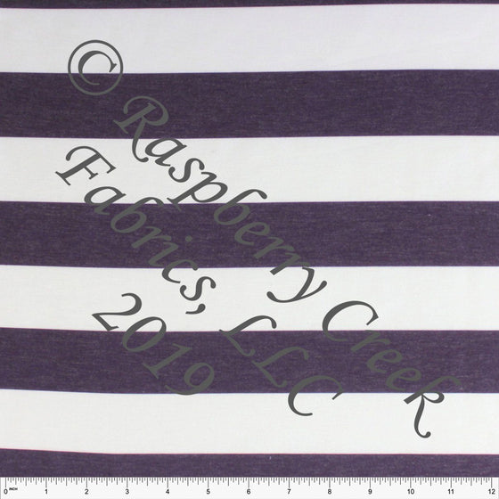 Eggplant Purple and White Wide Rugby Stripe 2 Way Stretch Poly Rayon Spandex French Terry Knit Fabric, CLUB Fabrics - Raspberry Creek Fabrics