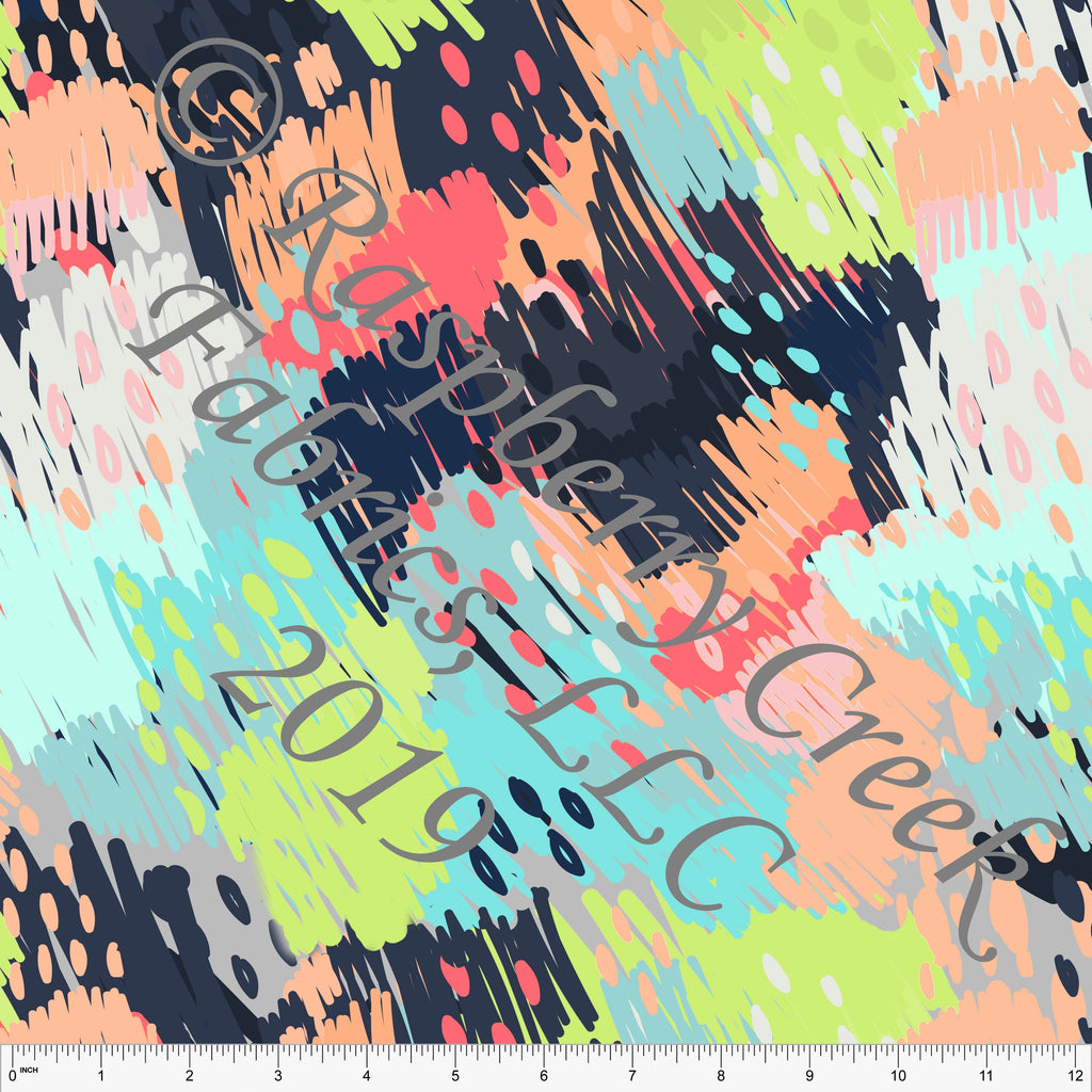 Peach Aqua Navy Grey Salmon and Lime Green Paint Dot Stretch Crepe, CLUB Fabrics, 1 Yard - Raspberry Creek Fabrics