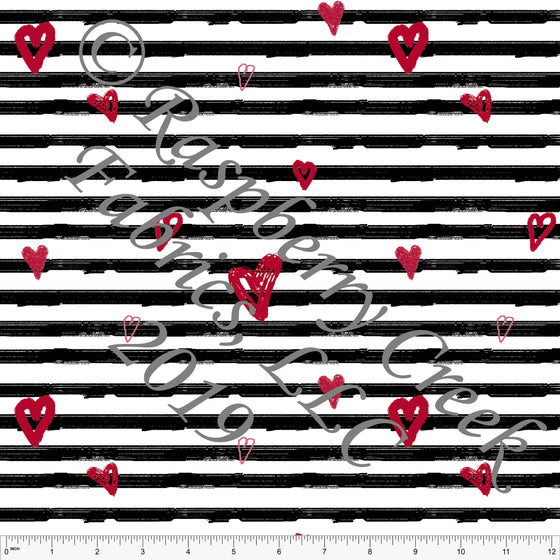 Black Red and White Painted Heart Stripes for Club Fabrics - Raspberry Creek Fabrics