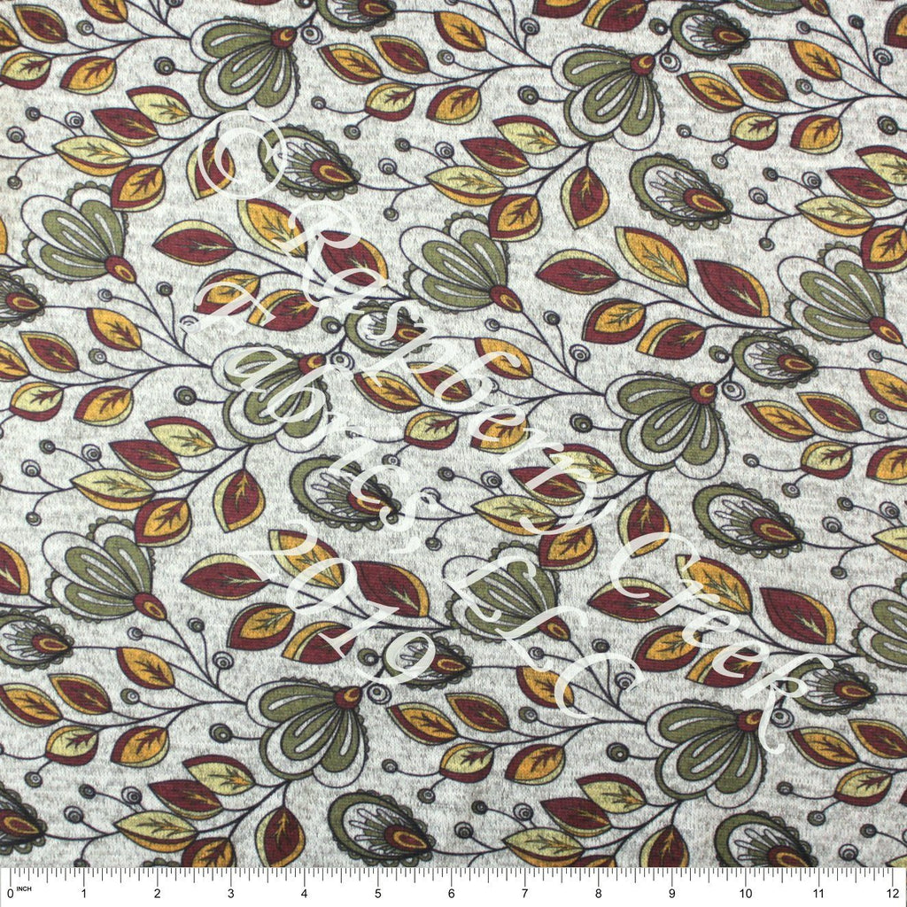 Burgundy Olive Mustard and Yellow Paisley Floral Brushed Heathered Hacci Sweater Knit Fabric, CLUB Fabrics Hacci, 1 Yard - Raspberry Creek Fabrics