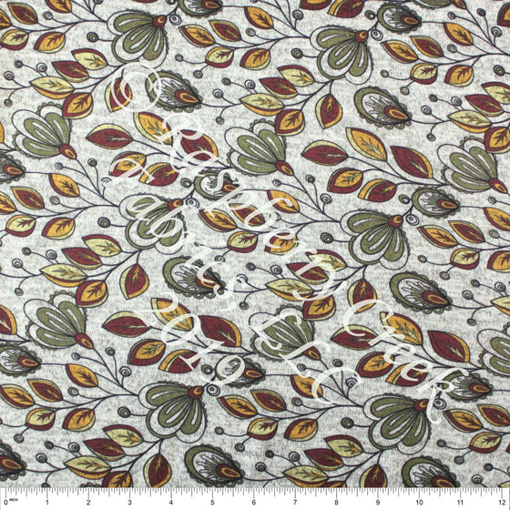 Burgundy Olive Mustard and Yellow Paisley Floral Brushed Heathered Hacci Sweater Knit Fabric, CLUB Fabrics Hacci - Raspberry Creek Fabrics