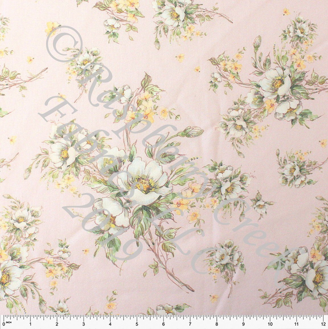 Pale Pink Cream Yellow and Green Floral Heathered FLEECE Sweatshirt Knit Fabric, CLUB Fabrics - Raspberry Creek Fabrics