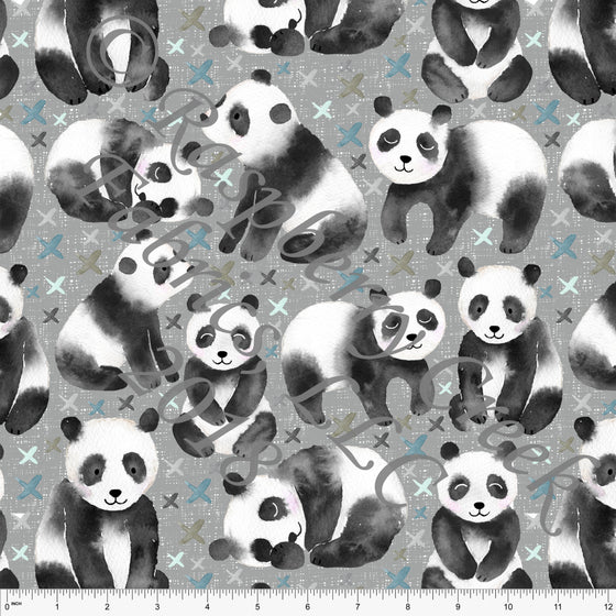 Grey Black White and Teal Panda Bear 4 Way Stretch Jersey Knit Fabric, Watercolor Animals by Ella Randall for Club Fabrics