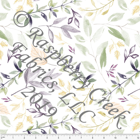Eggplant Sage and Mustard Pale Leaves by Elise Peterson for Club Fabrics - Raspberry Creek Fabrics