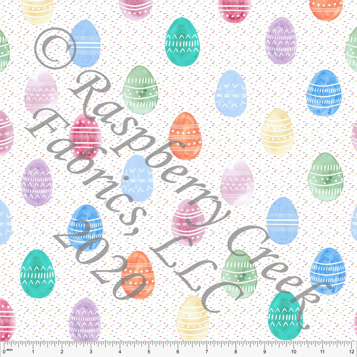 Seafoam Sage Orange Pink and Blue Watercolor Patterned Easter Eggs By Kelsey Shaw for Club Fabrics - Raspberry Creek Fabrics