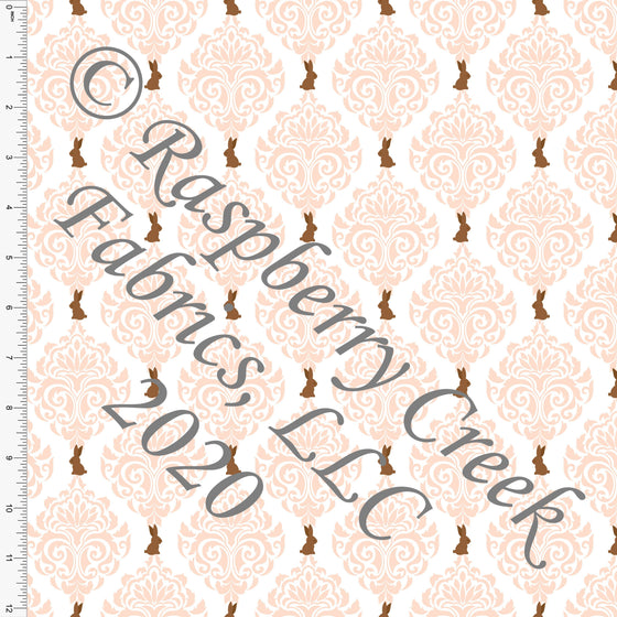 Peach White and Brown Chocolate Bunny Damask, By Bri Powell for Club Fabrics - Raspberry Creek Fabrics
