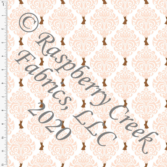 Peach White and Brown Chocolate Bunny Damask, By Bri Powell for Club Fabrics CLUB