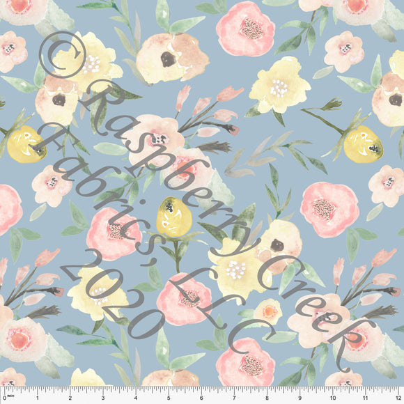 Peach Yellow and Dusty Blue Watercolor Floral 4 Way Stretch Double Brushed Poly for CLUB Fabrics - Raspberry Creek Fabrics