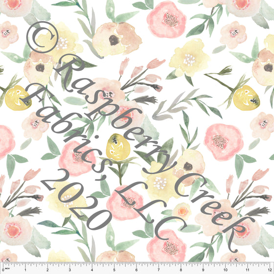 Peach Yellow and Sage Watercolor Floral Print for Club Fabrics - Raspberry Creek Fabrics