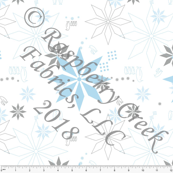 Blue Grey and White Tossed Penguin Snowflake 4 Way Stretch Jersey Knit Fabric, Winter Friends by McKenzie Powell for Club Fabrics - Raspberry Creek Fabrics