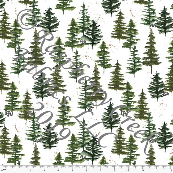 Tonal Olive Hunter and Kelly Green Pine Trees for Club Fabrics - Raspberry Creek Fabrics