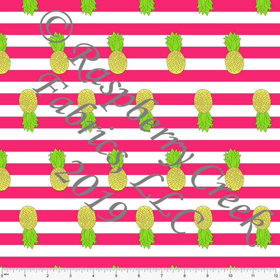 Fuchsia White Yellow and Green Pineapple Stripe 4 Way Stretch MATTE SWIM Knit Fabric, By Brittney Laidlaw for Club Fabrics - Raspberry Creek Fabrics