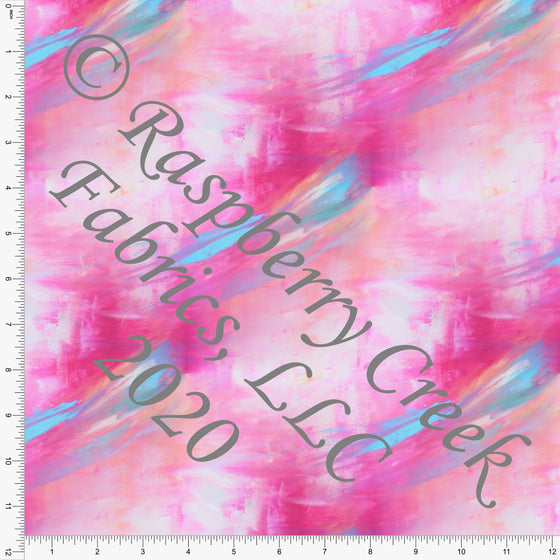 Peach Fuchsia Pink and Light Blue Abstract Brushed Stroke Print Double Brushed Poly Knit Fabric, By Theresa Namenye for CLUB Fabrics - Raspberry Creek Fabrics