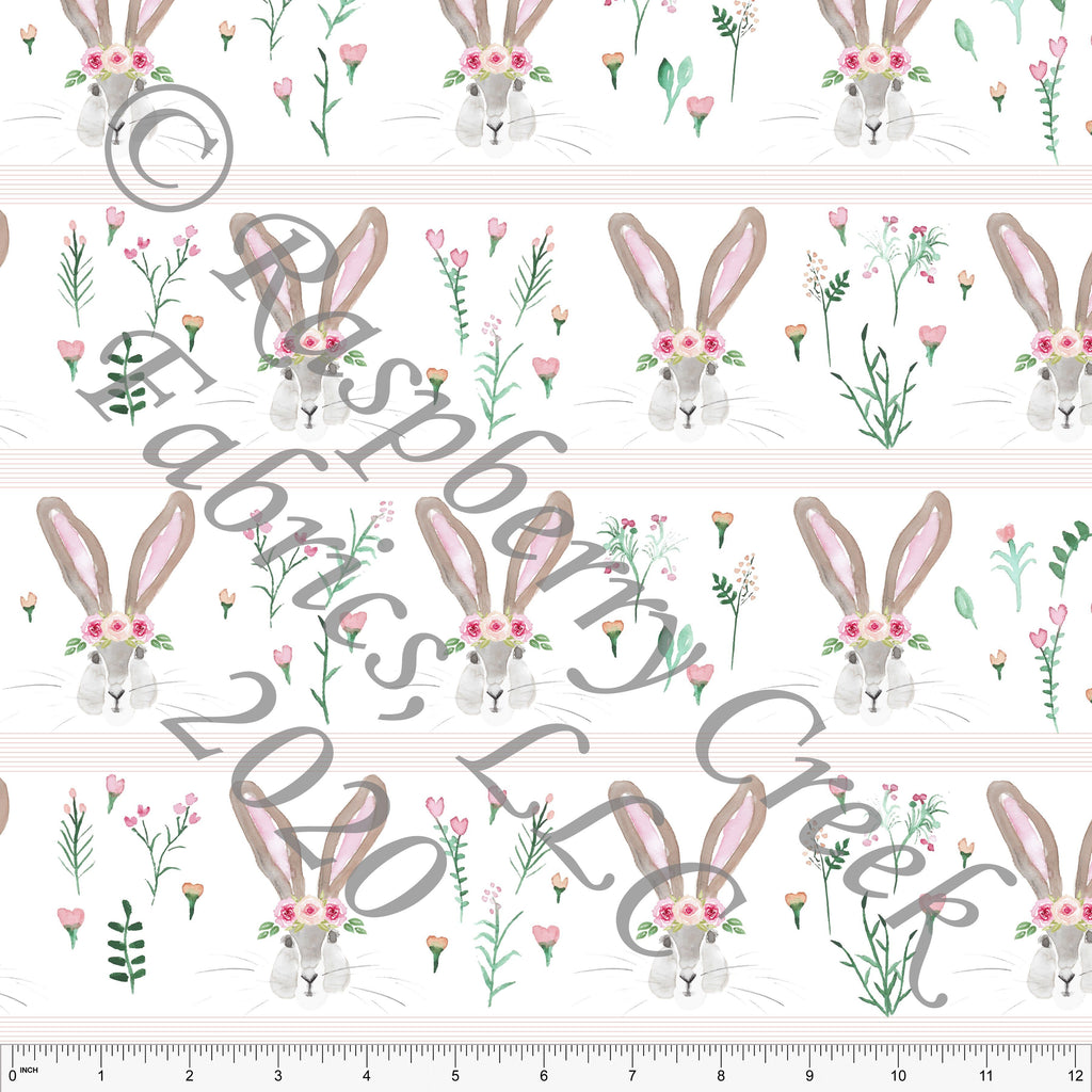 Pink Peach Grey and Green Watercolor Easter Bunny Stripe By Kelsey Shaw for Club Fabrics - Raspberry Creek Fabrics