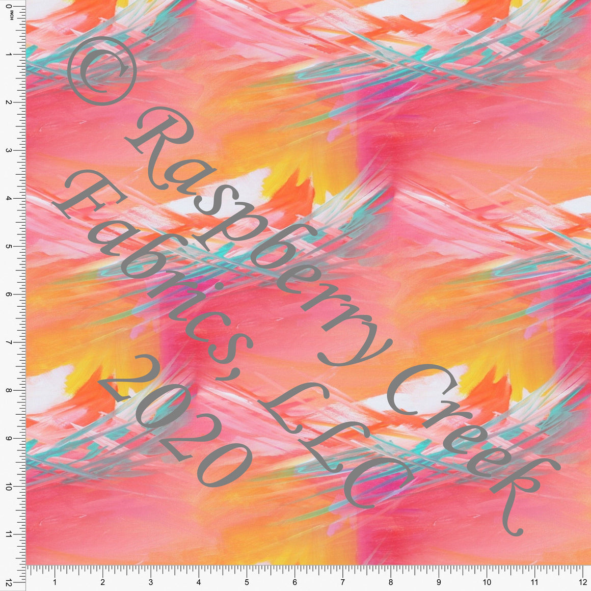 Fuchsia Orange and Light Blue Abstract Brushed Stroke Print Double Brushed Poly Knit Fabric, By Theresa Namenye for CLUB Fabrics - Raspberry Creek Fabrics