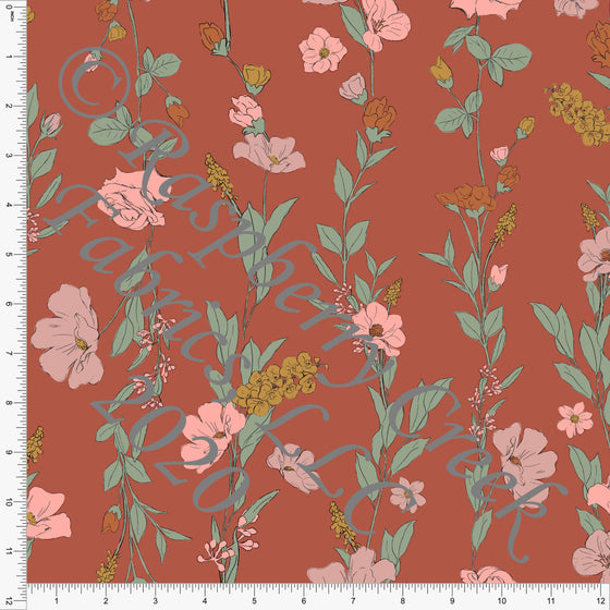 Rusty Dusty Pink Sage and Mustard Vine Floral Print Double Brushed Poly Knit Fabric, By Kimberly Henrie for CLUB Fabrics - Raspberry Creek Fabrics