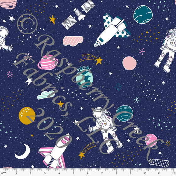 Navy Pink Teal and Mustard Space Planet Moon Print 4 Way Stretch Double Brushed Poly Knit Fabric, By Kimberly Henrie for CLUB Fabrics