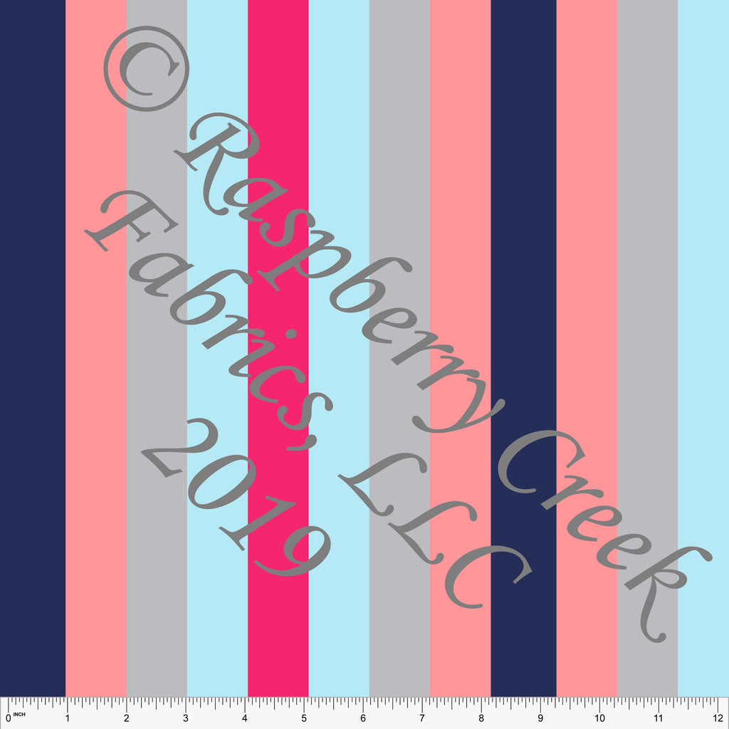 Navy Coral Fuchsia Light Blue and Grey Vertical Multi Stripe 4 Way Stretch MATTE SWIM Knit Fabric, Club Fabrics