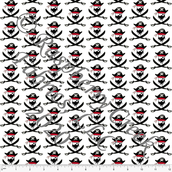 Black Red and White Pirate Swords, Pirates by Elise Peterson for Club Fabrics - Raspberry Creek Fabrics