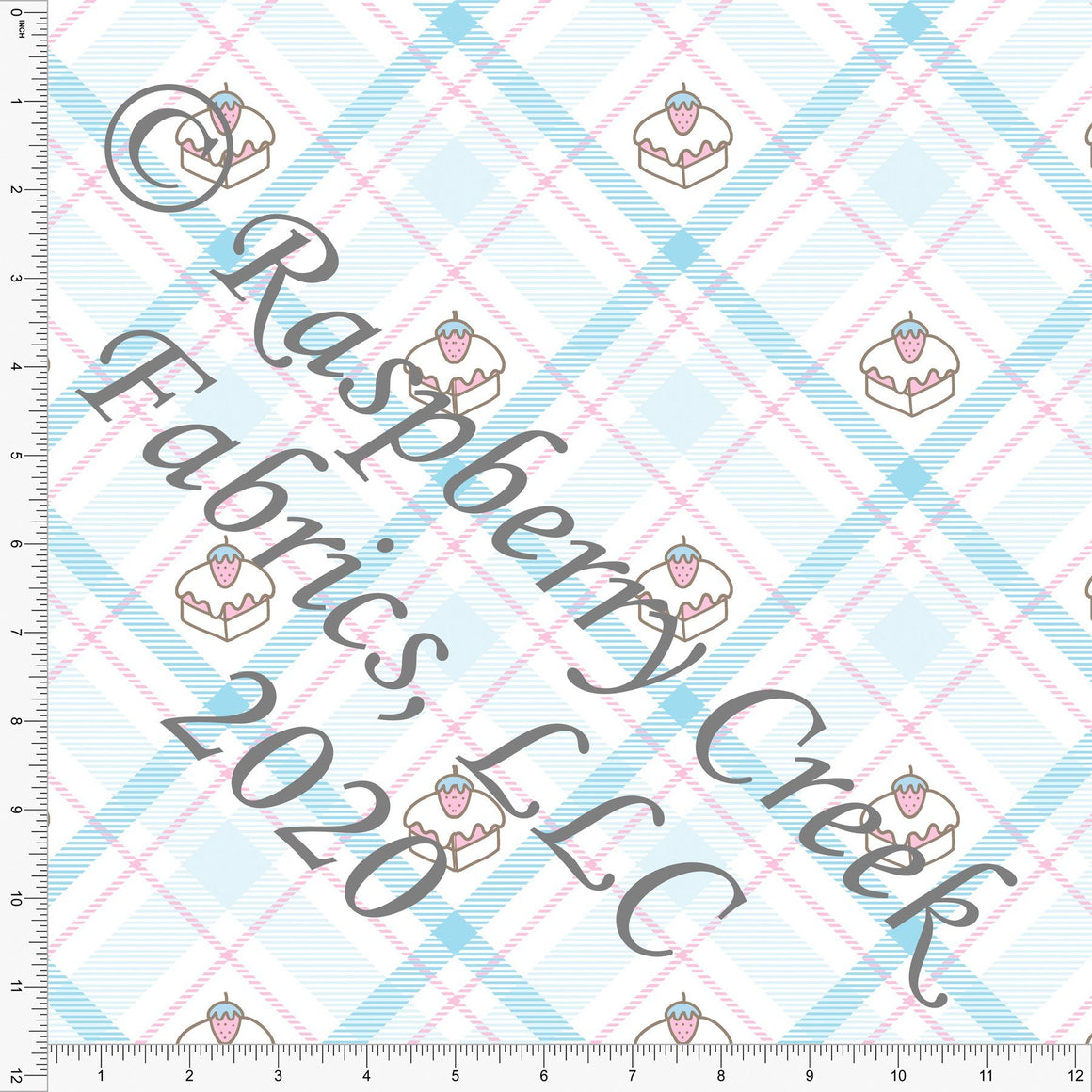 Light Blue Pink and White Plaid Petit Fours, Candy Shoppe By Bri Powell for Club Fabrics - Raspberry Creek Fabrics