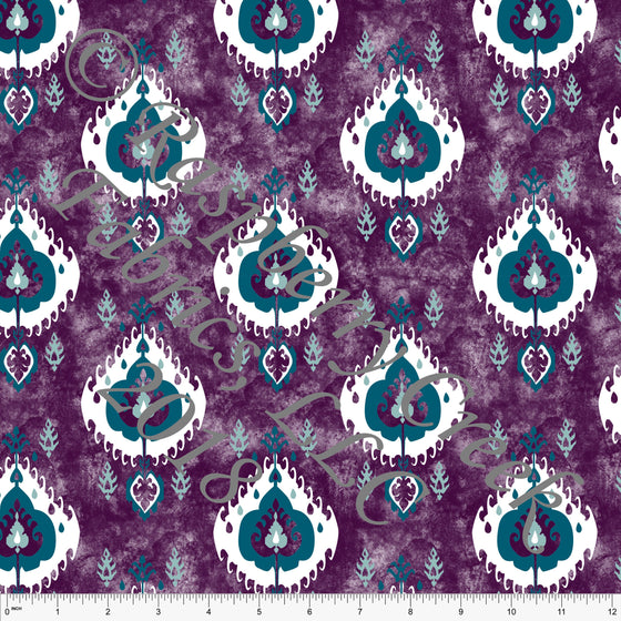 Plum Teal Aqua and White Geometric Ikat Ponte De Roma Knit Fabric, CLUB Fabrics, 1 yard