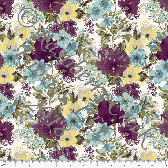 Plum Teal Yellow and Olive Floral in Rayon Challis, CLUB Fabrics, 1 Yard