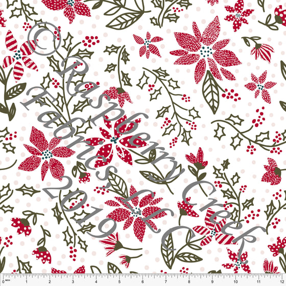 Red Olive Green and Pink Poinsettia Flowers By Kimberly Henrie for Club Fabrics - Raspberry Creek Fabrics