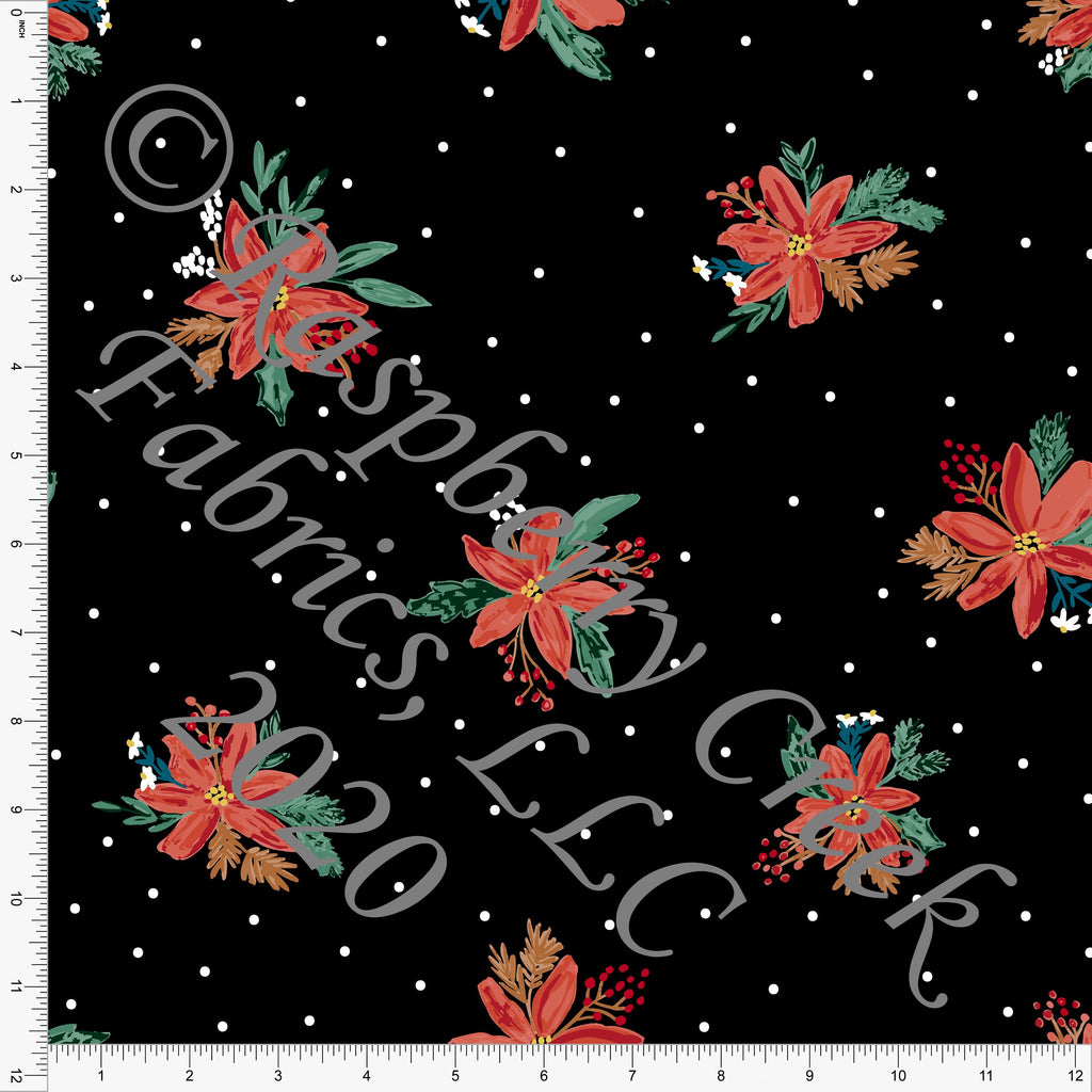 Black Red Green and Teal Poinsettia Polka Dot Print Double Brushed Poly Knit Fabric, By Kimberly Henrie for CLUB Fabrics - Raspberry Creek Fabrics