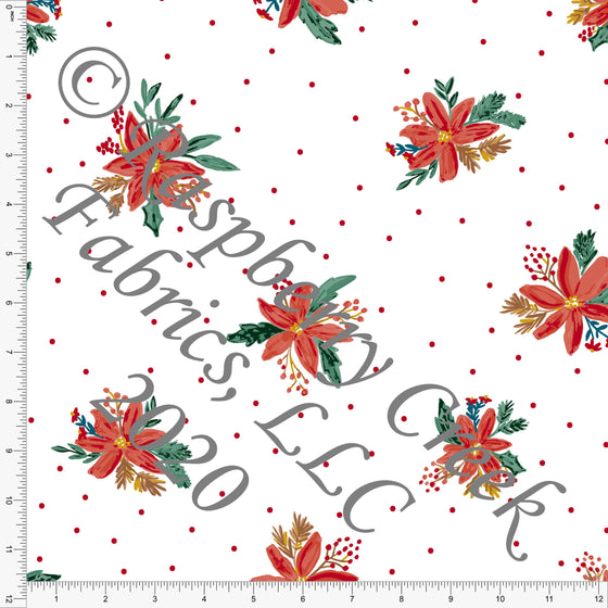 Red Dusty Green Mustard and Brown Polka Dot Poinsettia Print, Christmas Floralsaurus by Kimberly Henrie for Club Fabrics - Raspberry Creek Fabrics