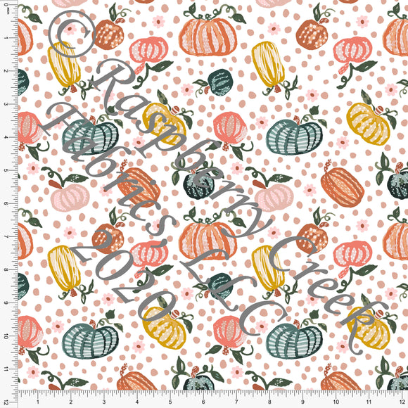 Hunter Green Mustard and Deep Peach Polka Dot Pumpkins , Happy Halloween by Kimberly Henrie for Club Fabrics - Raspberry Creek Fabrics