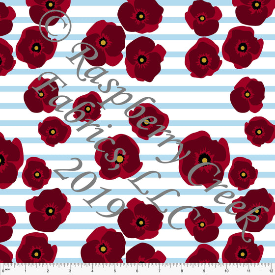 Red White and Light Blue Poppy Stripe 4 Way Stretch Jersey Knit Fabric, By Courtney Graziano for CLUB Fabrics