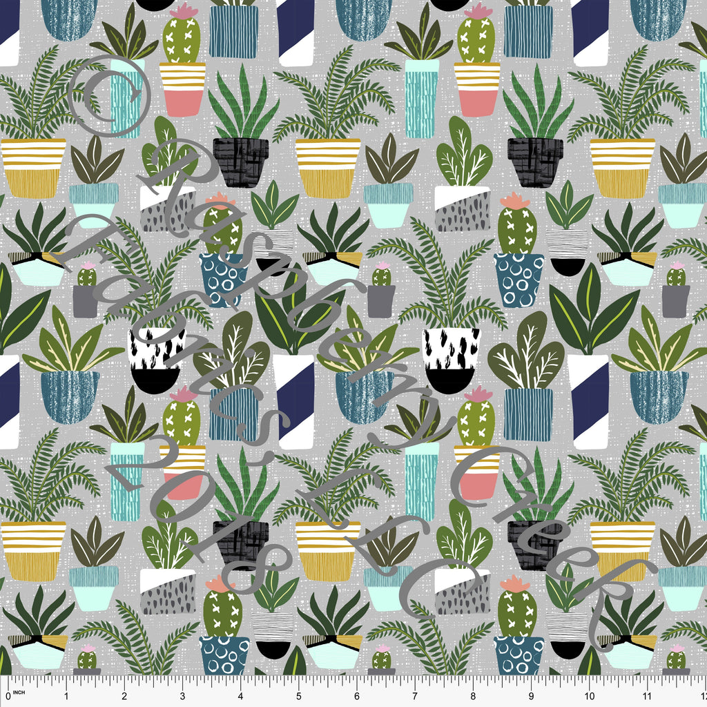 Grey Green Navy and Mustard Potted House Plant 4 Way Stretch Jersey Knit Fabric, Outdoors by Ella Randall for Club Fabrics