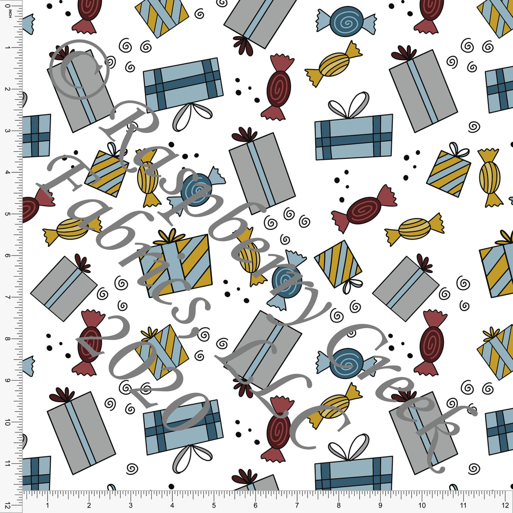 Mustard Grey Teal Dusty Blue and Burgundy Present and Candy Print, Christmas Trimmings By Brielle Carlson for Club Fabrics - Raspberry Creek Fabrics