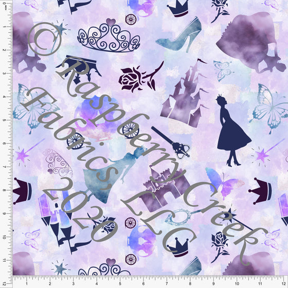 Tonal Purple Teal and Blue Princess Castle Print Double Brushed Poly Knit Fabric, Fairytales by Elise Peterson for CLUB Fabrics - Raspberry Creek Fabrics