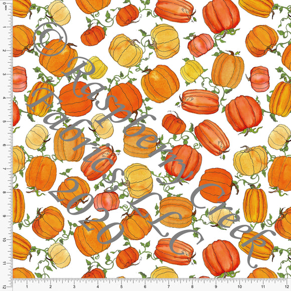 Tonal Orange Mustard and Green Vine Pumpkins, Fall Into Halloween By Brittney Laidlaw for Club Fabrics - Raspberry Creek Fabrics