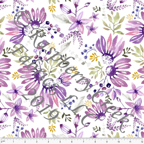 Bright Eggplant Purple Sage and Mustard Coneflower Floral by Elise Peterson for Club Fabrics - Raspberry Creek Fabrics