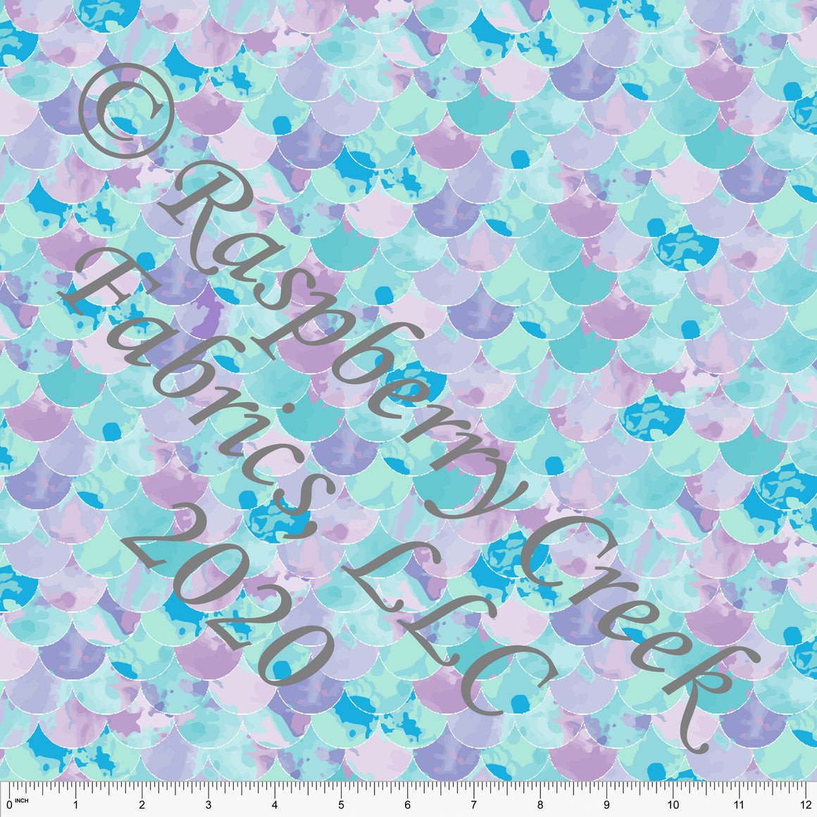 Lilac Blue and Aqua Mermaid Scale Print 4 Way Stretch MATTE SWIM Knit Fabric, By Elise Peterson for Club Fabrics - Raspberry Creek Fabrics