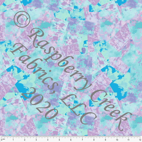 Lilac Blue and Aqua Abstract Square Print 4 Way Stretch MATTE SWIM Knit Fabric, By Elise Peterson for Club Fabrics - Raspberry Creek Fabrics