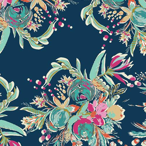 Bari J Coquet Bouquet Navy Magenta Mint and Yellow Floral Rayon Challis